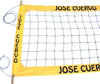 JCPRO-Jose Cuevo Professional Volleyball  Net, Aircraft Cable Top and Bottom, 4-inch Yellow Tapes