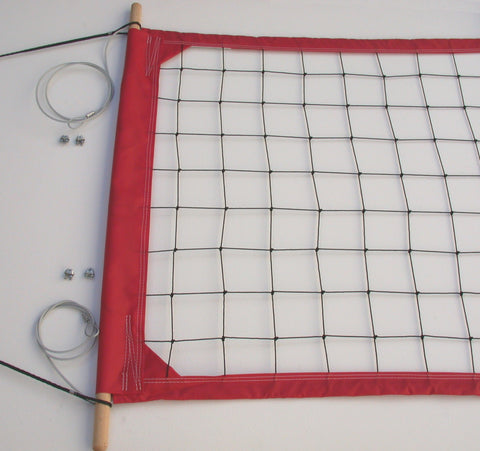 PRO2R-Professional Volleyball  Net, Aircraft Cable Top and Bottom, 2-inch Red Tapes