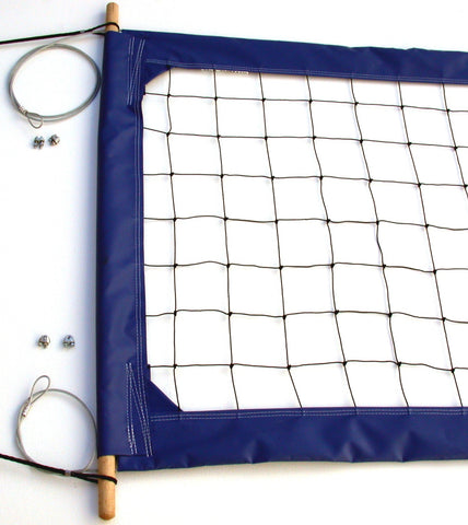 PRO4B-Professional Volleyball  Net, Aircraft Cable Top and Bottom, 4-inch Blue Tapes