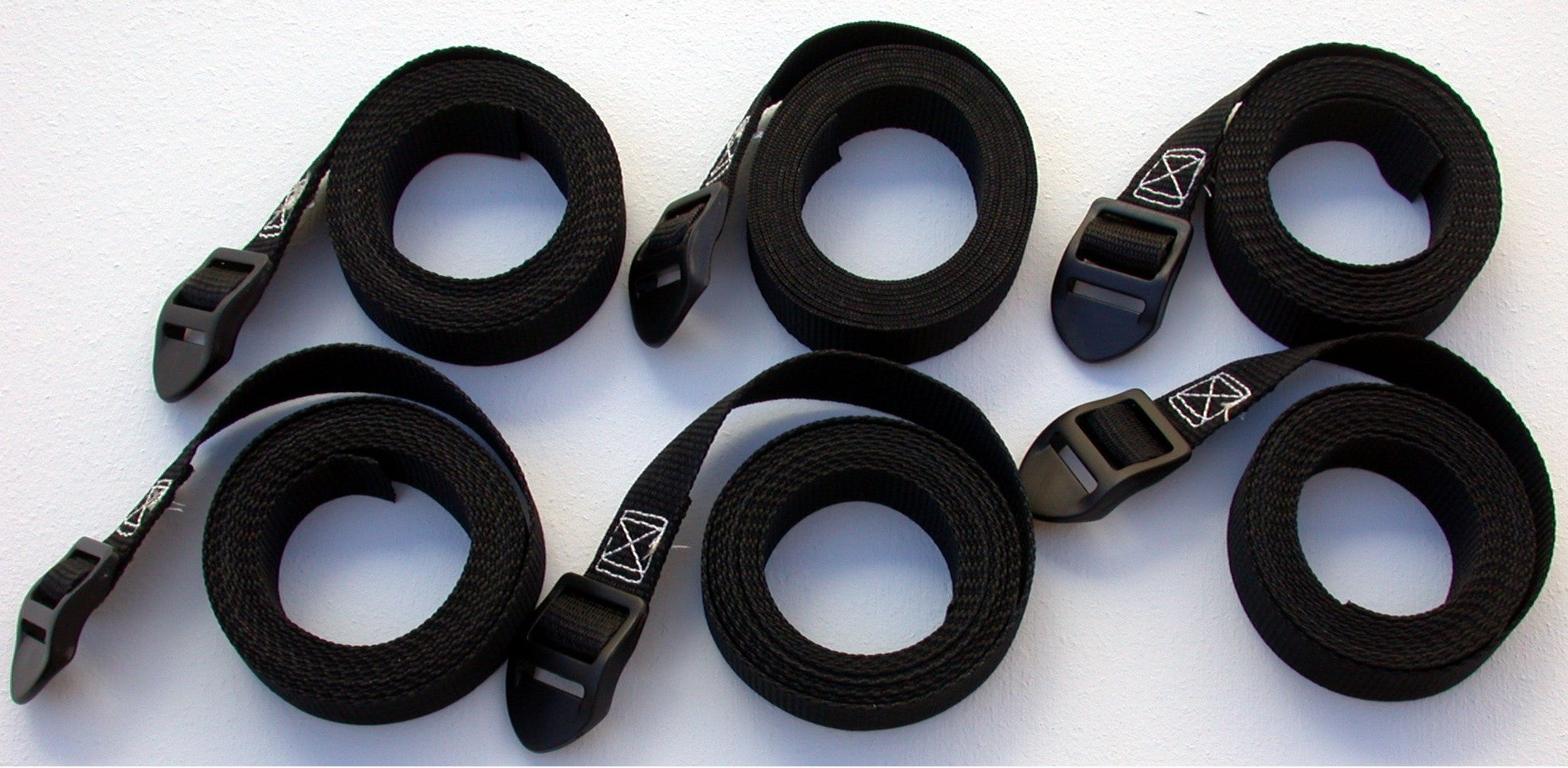 PTS-six 1-inch wide black webbing volleyball net dowel rod tension straps