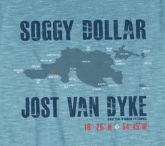 Jost Van Dyke Island Map Short Sleeve T-Shirt