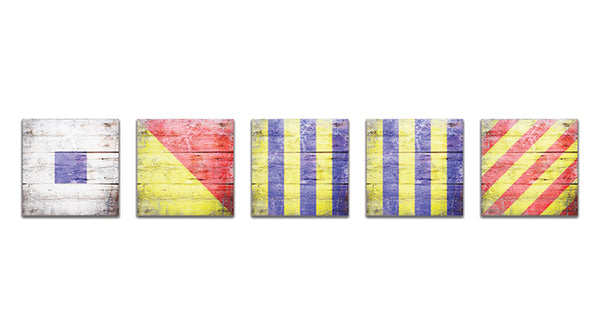 """SOGGY"" Mini Nautical Flags Wooden Magnets"