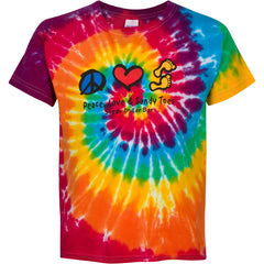 Peace, Love, Sandy Toes Tie-Dyed Youth T-Shirt