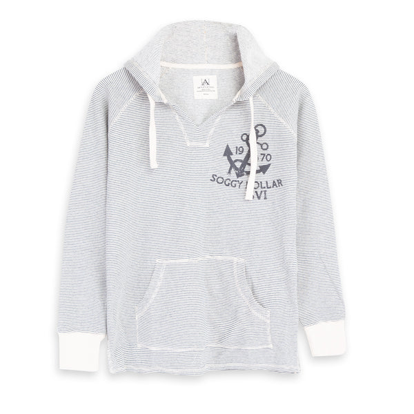 Hampton Anchor Striped V Neck Women's Hoodie