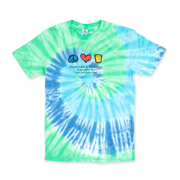 Peace, Love & Painkillers Tie-Dyed Short Sleeve Tee