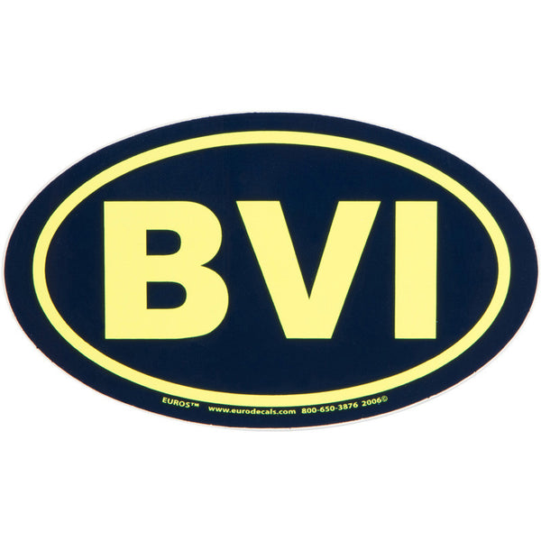 BVI Euro Sticker: Navy with Neon Yellow