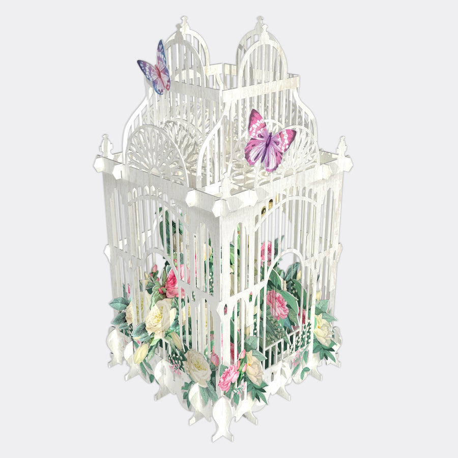 Birdcage & Flower POP UP Card