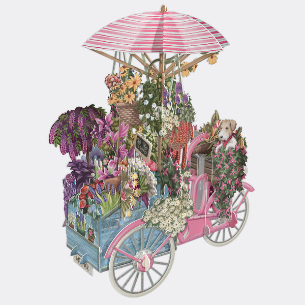 Flower Vendor's Bicycle 3D POP UP Card