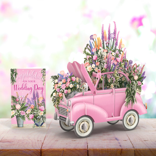 """The Pink Flower Car Wedding"" - 3D Pop Up Greetings Card"