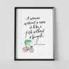 """Fish on a Bicycle"" Art Poster"