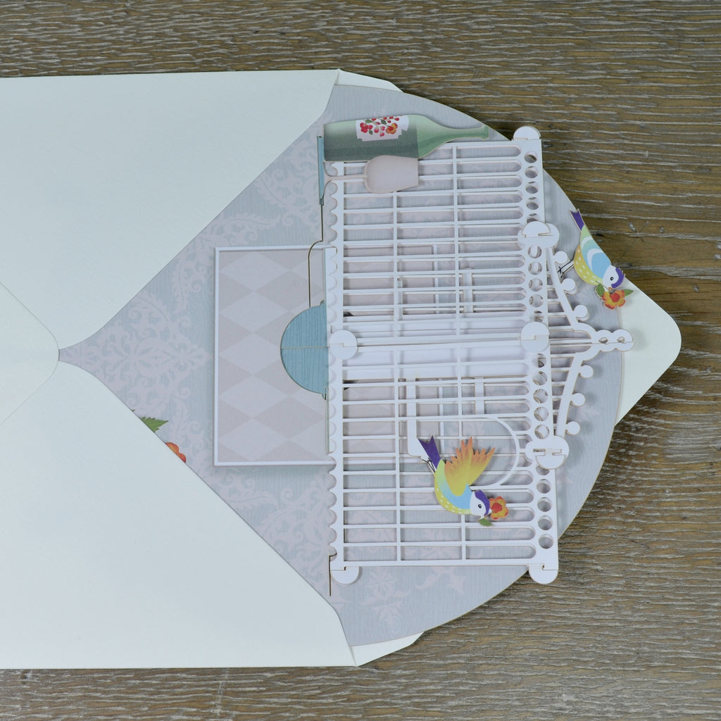 """The Bird Table"" - 3D Pop Up Greetings Card"