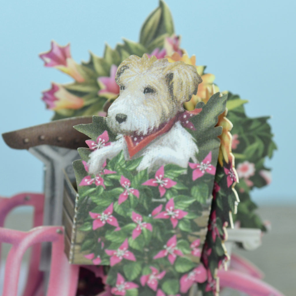 """The Flower Seller's PINK Bicycle"" - 3D Pop Up Greetings Card"
