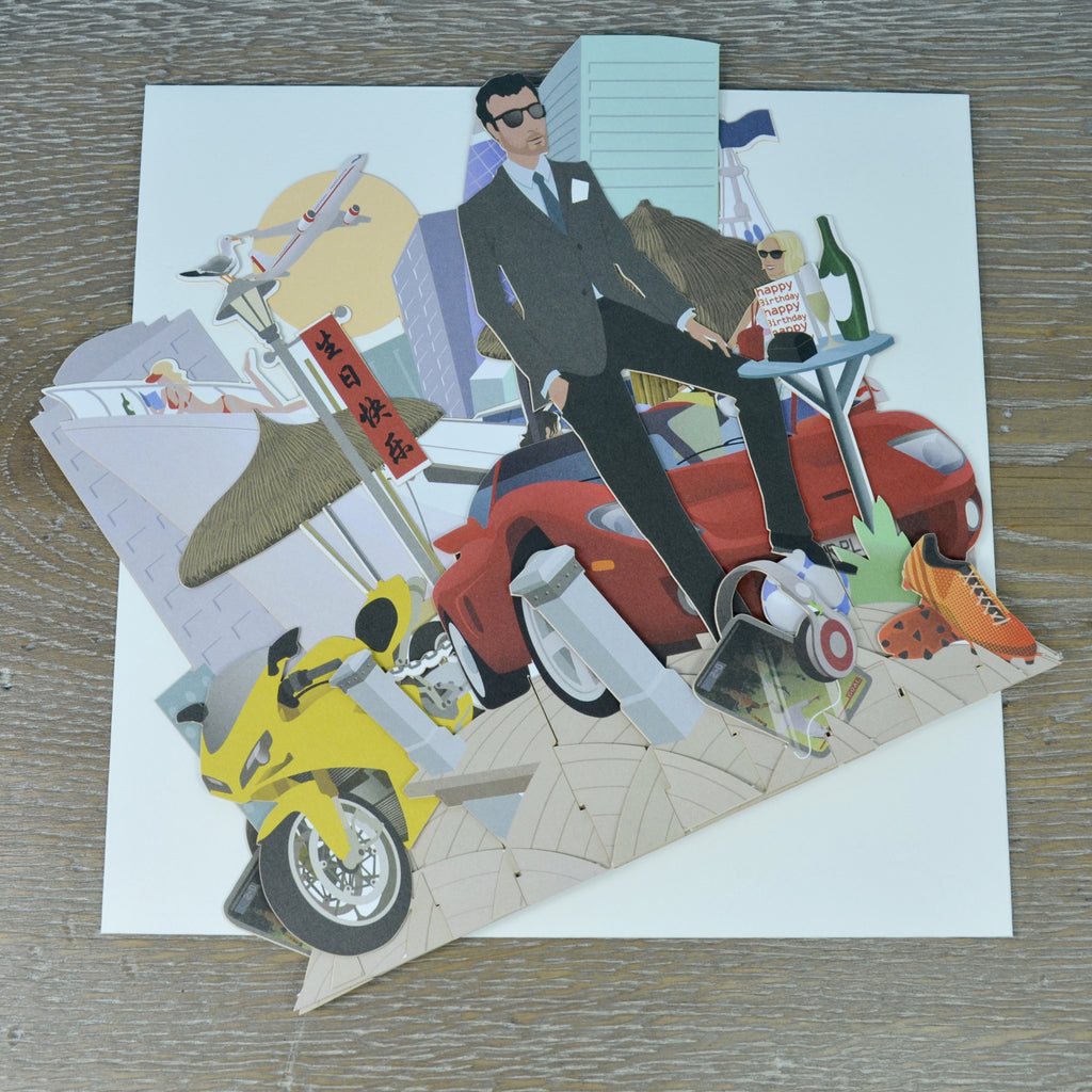 """It's A Man's World"" - Top of the World Pop Up Greetings Card"