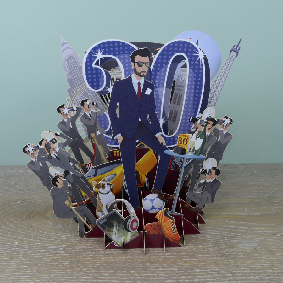 30th Birthday Man - Top of the World Pop Up Greetings Card
