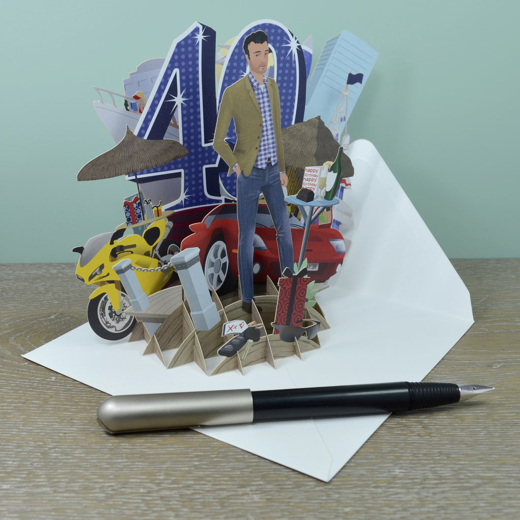 """40th Birthday Man"" - Top of the World Pop Up Greetings Card"
