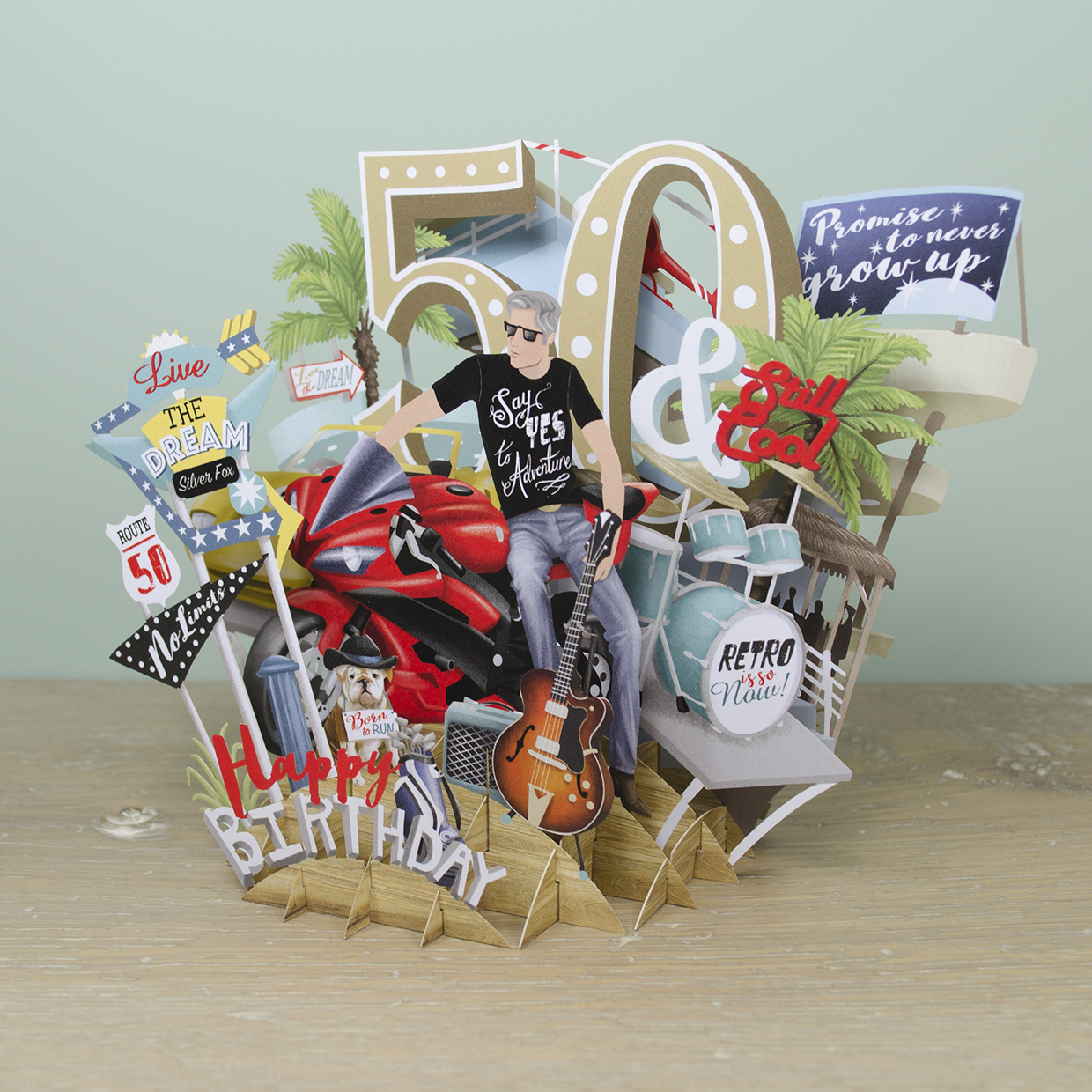 50th Birthday Man Top Of The World Pop Up Greetings Card