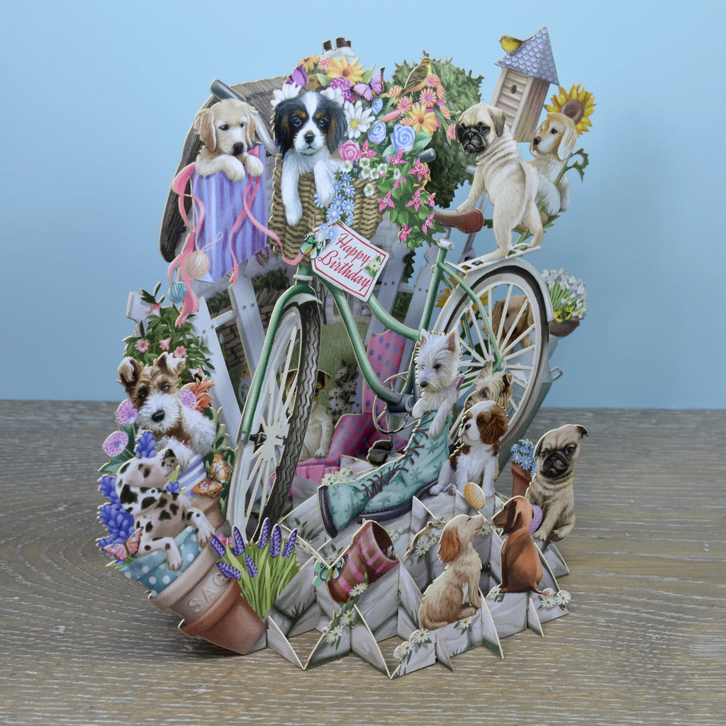 """Happy Birthday"" Puppies - Top of the World Pop Up Greetings Card"