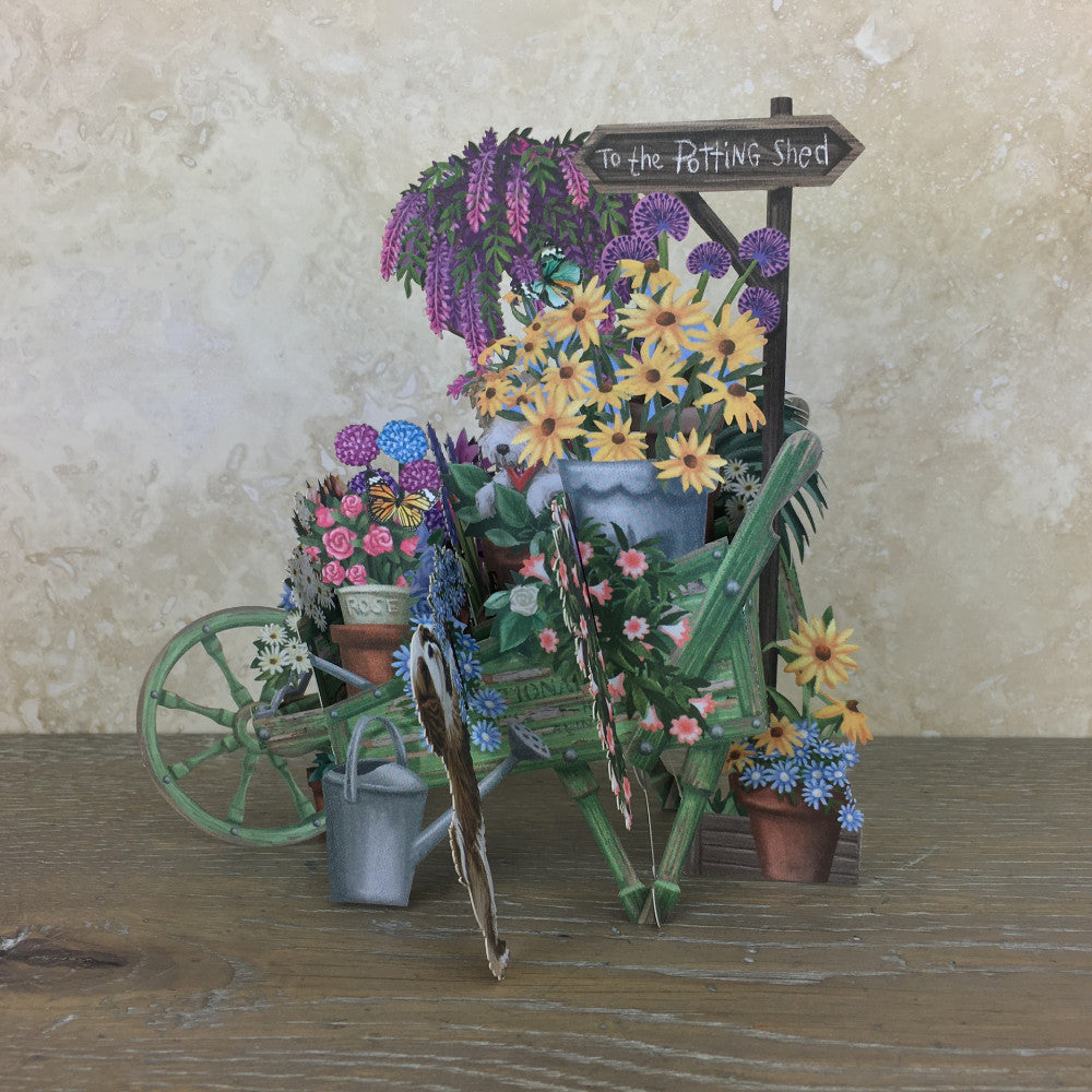 The Green Wheelbarrow - 3D Pop Up Greetings Card
