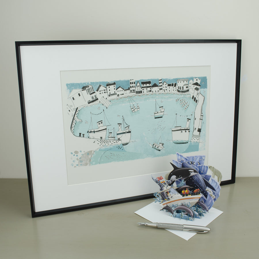 St Ives:  The Whole  Harbour Print A3 - Reuben McHugh