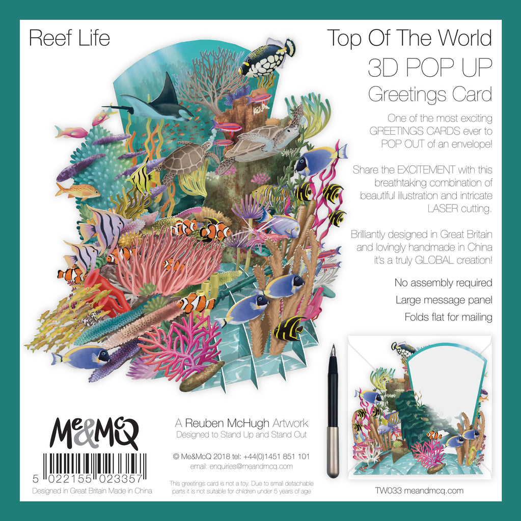 """Coral Reef"" - Top of the World Pop Up Greetings Card"