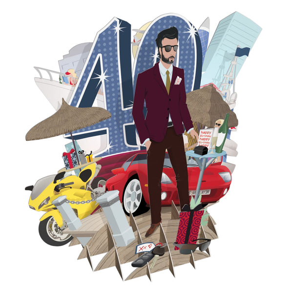 """40th Birthday Man"" Top of the World Pop Up Greetings Card"