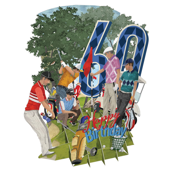 """60 Today Golf World"" - Top of the World Pop Up Greetings Card"