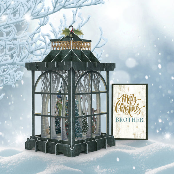 """The Lantern"" Merry Christmas Brother - 3D Pop Up Christmas Card"