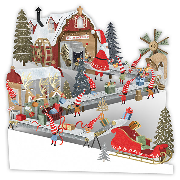 """The Christmas Workshop"" - Zig-Zag Pop Up Christmas Card 