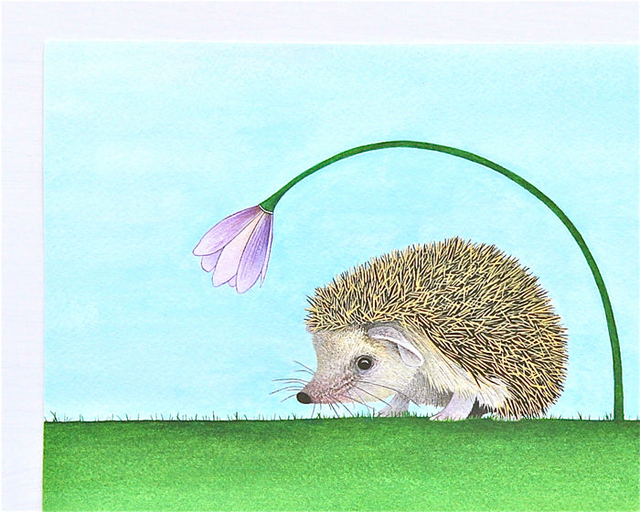 Happy Hedgehog watercolor painting