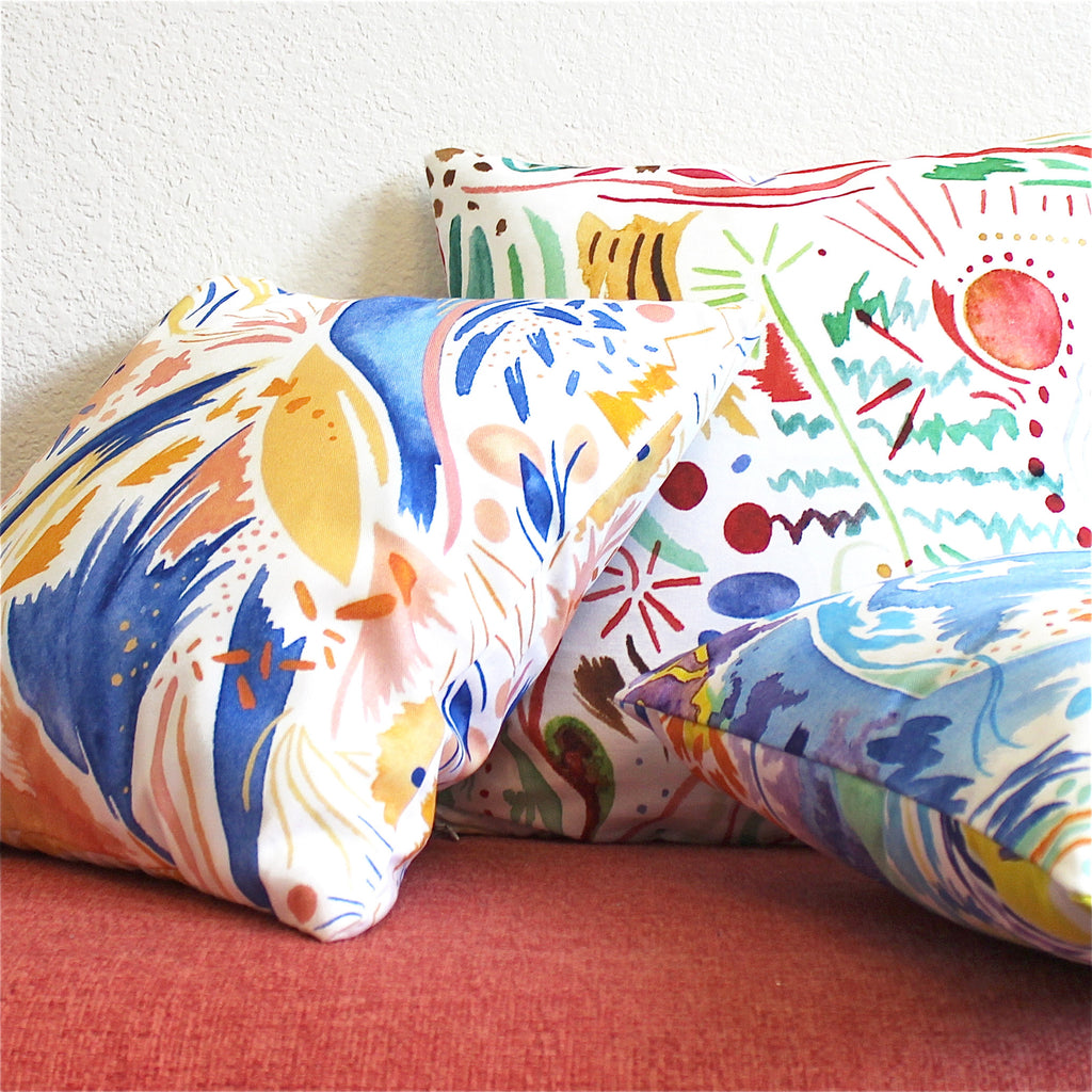 Jennifer Ahern watercolor throw pillows