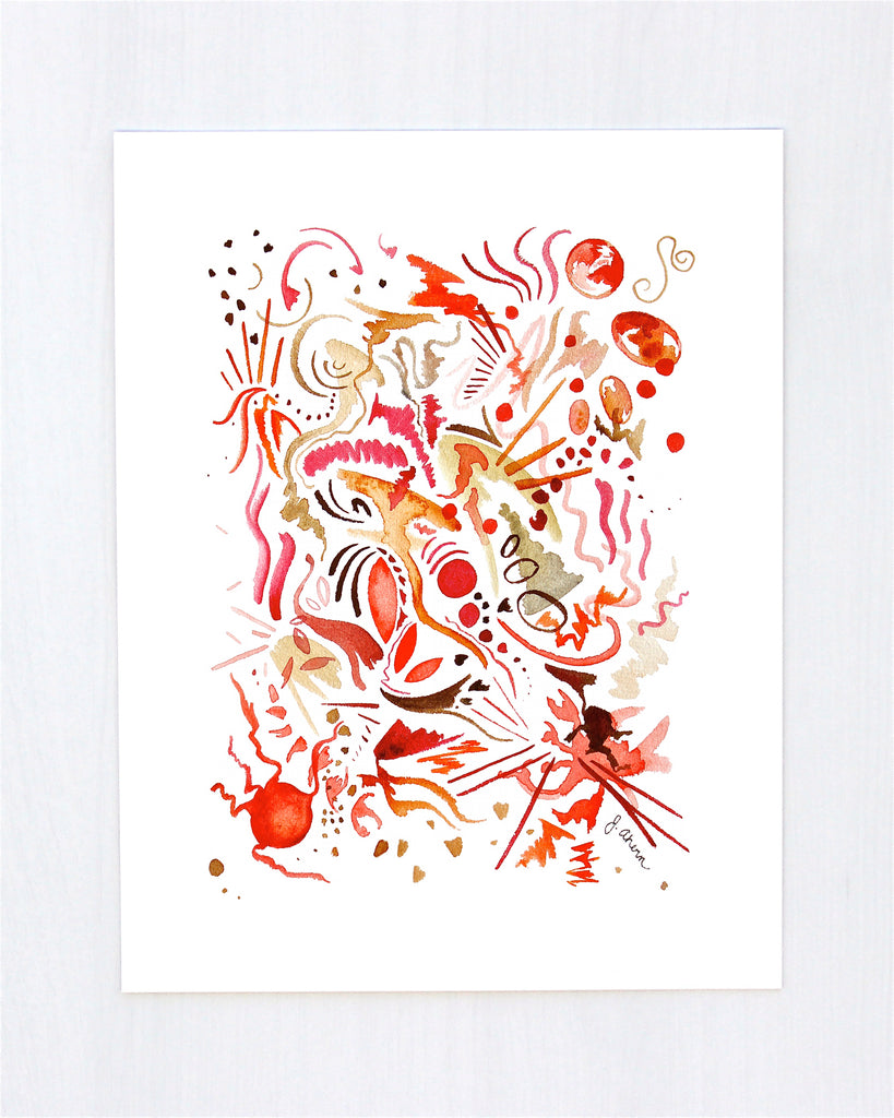 Raspberries and Cinnamon Abstract Print
