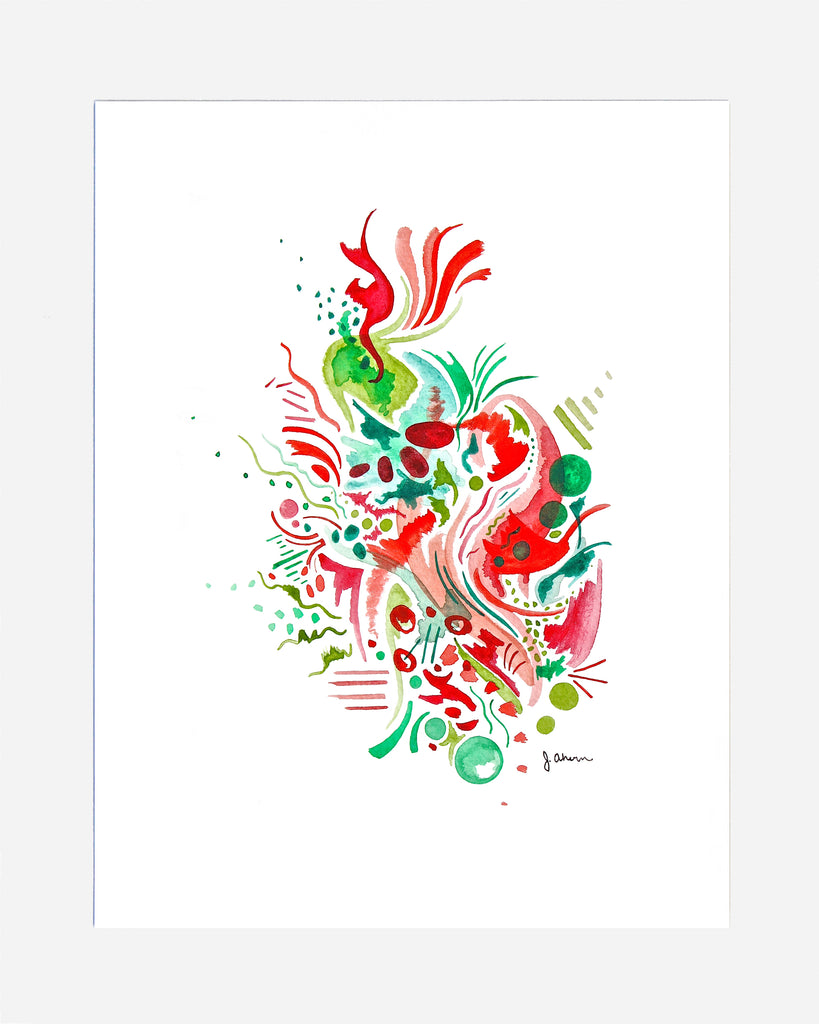 Red and Green Abstract Print