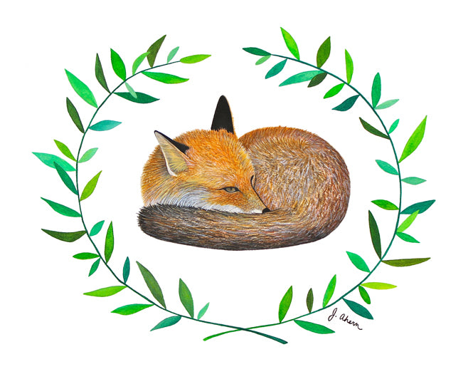 Sleepy Fox watercolor painting