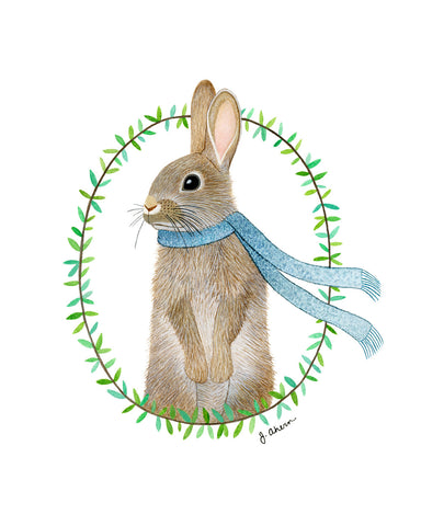 Cozy Rabbit with blue scarf watercolor print