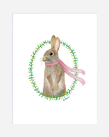 Cozy Rabbit with pink scarf watercolor print