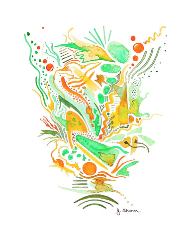 Orange and Green Abstract Print
