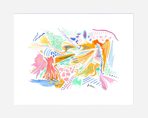 Pastel Colors Abstract watercolor print