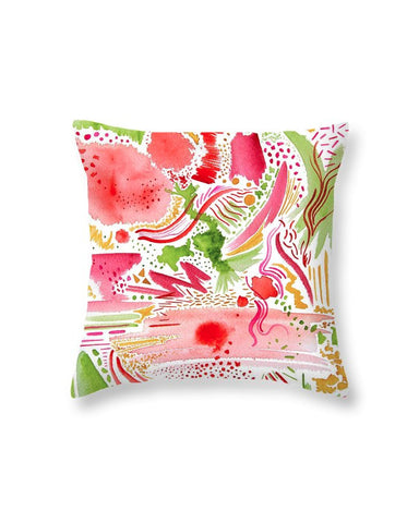 """Pink and Green Abstract"" Throw Pillow"