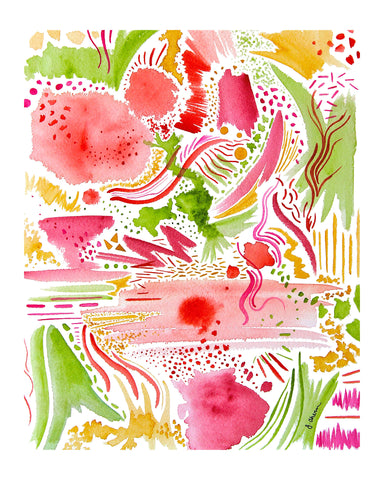 Pink and Green Abstract Print