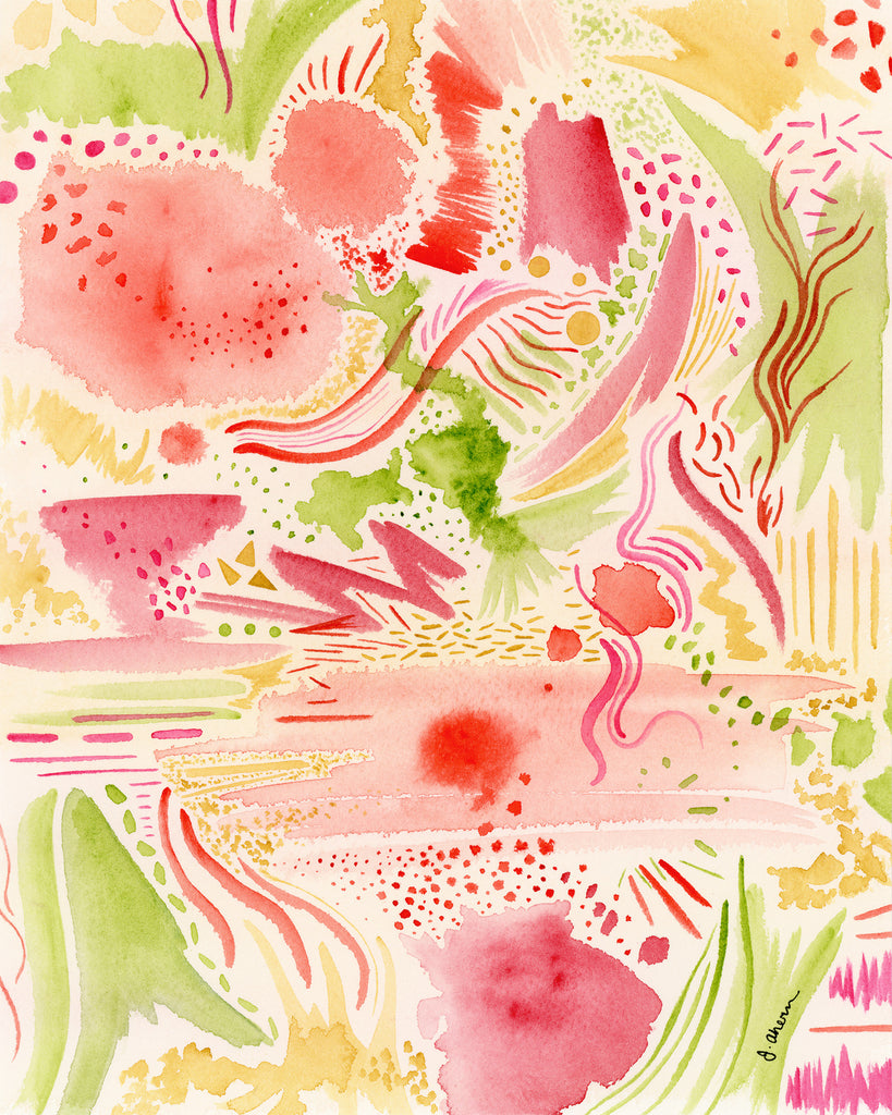 Pink and Green Abstract watercolor original painting