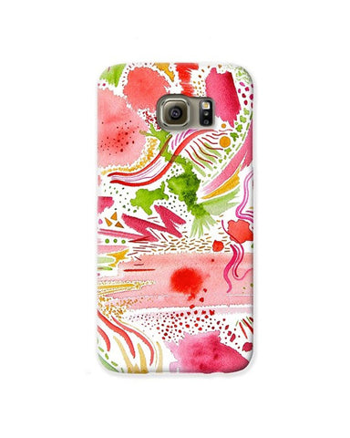 """Pink and Green Abstract"" Cell Phone Case"