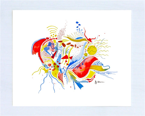 Primary Colors Abstract watercolor painting