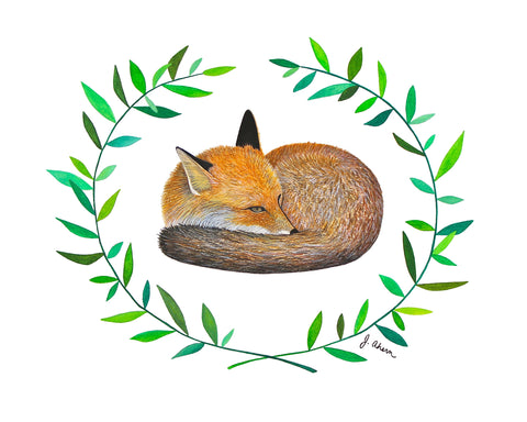Sleepy Fox Print