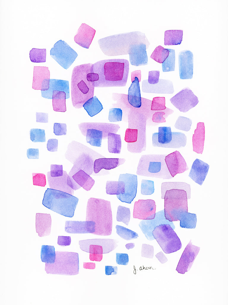 Square Study in Purple watercolor original painting