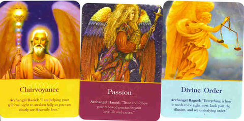Picture of Angel Cards which read Clairvoyance, Passion, and Divine Order.