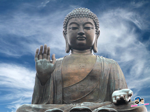 Picture of Buddha posing with his hand in a high five position