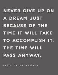 "Quote image from Earl Nightingale that read: ""Never give up on a dream just because of the time it will take to accomplish it. The time will pass anyway."