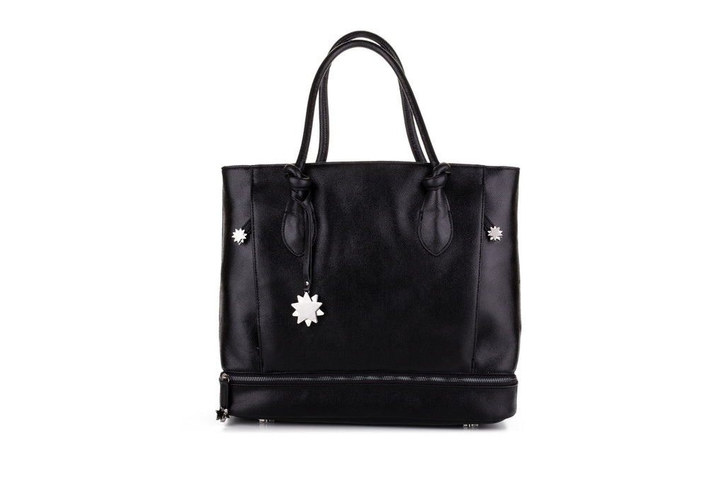 Brilliant On-the-Go Tote & Matching Clutch Black