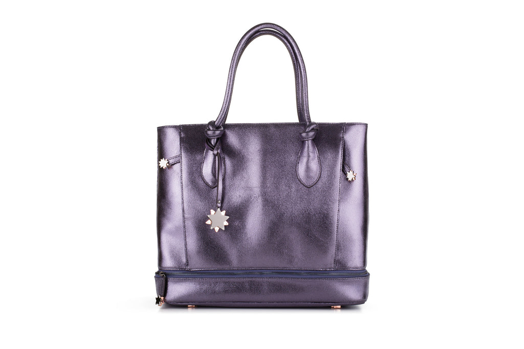 Brilliant On-the-Go Tote & Matching Clutch Pewter