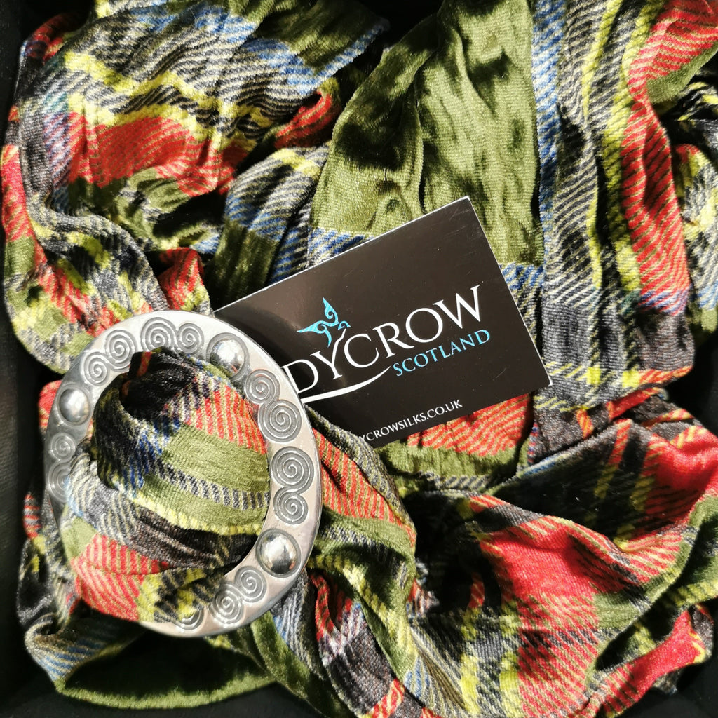 Twisted Tartan Silk/Velvet Scarf with Scarf Ring